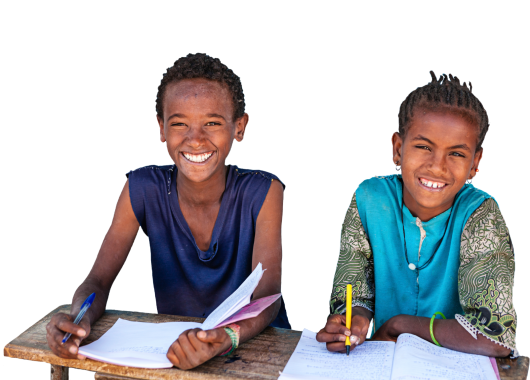Image of two school girls smiling